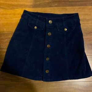 Corduroy mini navy button up skirt size small